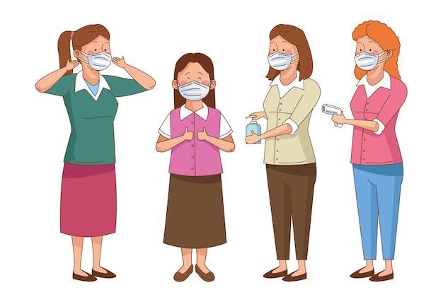 Preventivo covid sulla scena della scuola con insegnanti che indossano maschere facciali