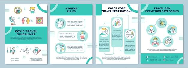Modello di linee guida di viaggio covid. distanza sociale di atterraggio. volantino, opuscolo, stampa di volantini, copertina con icone lineari.