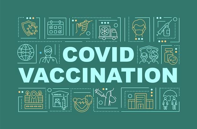 Illustrazione dell'insegna di concetti di parola di vaccinazione covid