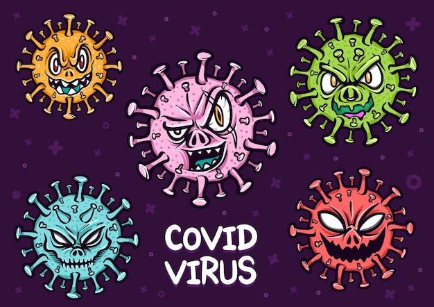 Illustrazione del fumetto della malattia del virus del virus covid