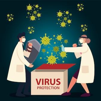 Medici di protezione da virus covid con maschere scudo e guanti e tema coronavirus