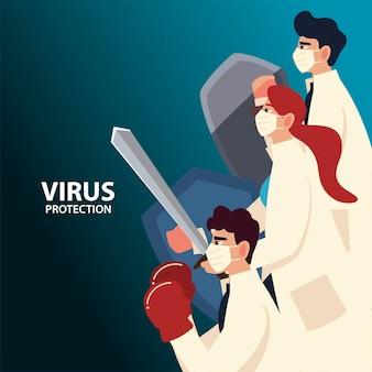 Protezione da virus covid e medici con maschere e scudi e tema coronavirus