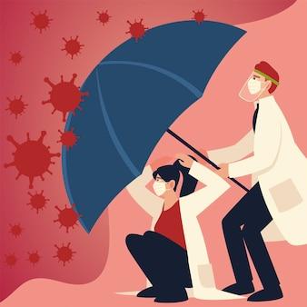 Protezione da virus covid e medici con maschere e ombrello di e tema coronavirus