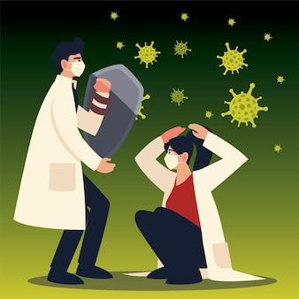 Protezione da virus covid uomo e donna medici con maschere e scudo e tema coronavirus
