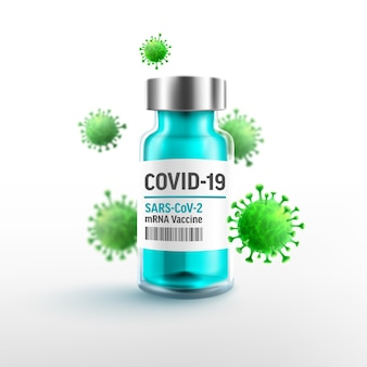 Vaccinazione in bottiglia di vaccino contro il coronavirus covid19 con vaccini mrna e cellula virale
