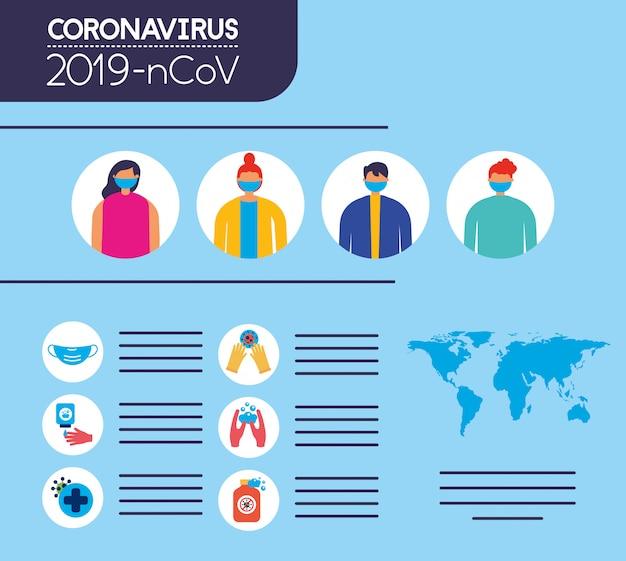 Infografica pandemica covid19 con persone che usano le maschere per il viso