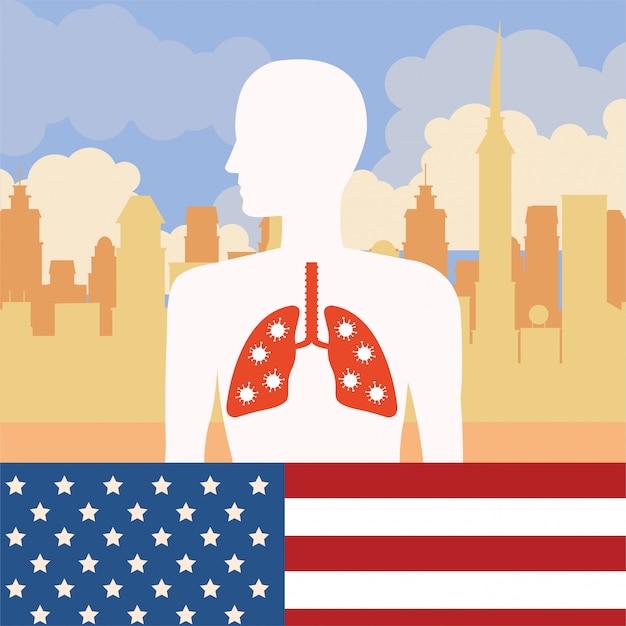 Covid19 particelle di pandemia con bandiera usa e polmoni