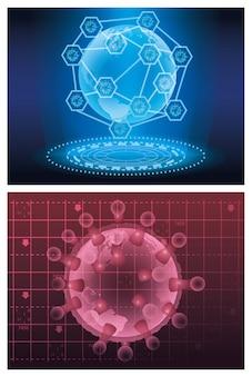 Covid19 particella di luce futuristica con il pianeta terra