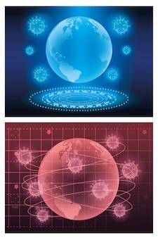 Covid19 particelle e pianeti terrestri luci futuristiche