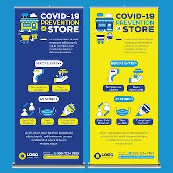 Covid19 prevention at store modello di stampa banner roll up in stile design piatto
