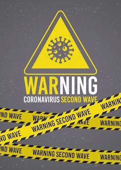 Campagna di seconda ondata covid19 con particelle di virus in triangolo con nastri