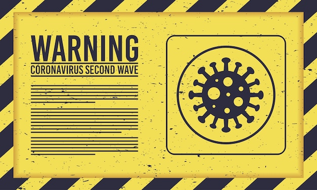 Campagna di seconda ondata covid19 con particelle virali in segno giallo