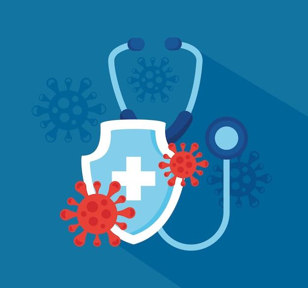 Poster di speranza del vaccino covid19 con disegno di illustrazione di siringa e particelle