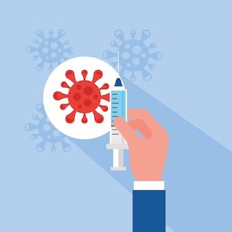 Il vaccino covid19 spera con la mano che inietta il disegno dell'illustrazione di vettore delle particelle