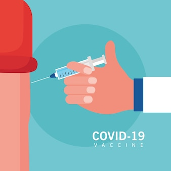 Il vaccino covid19 spera con la mano che inietta il disegno dell'illustrazione di vettore del paziente