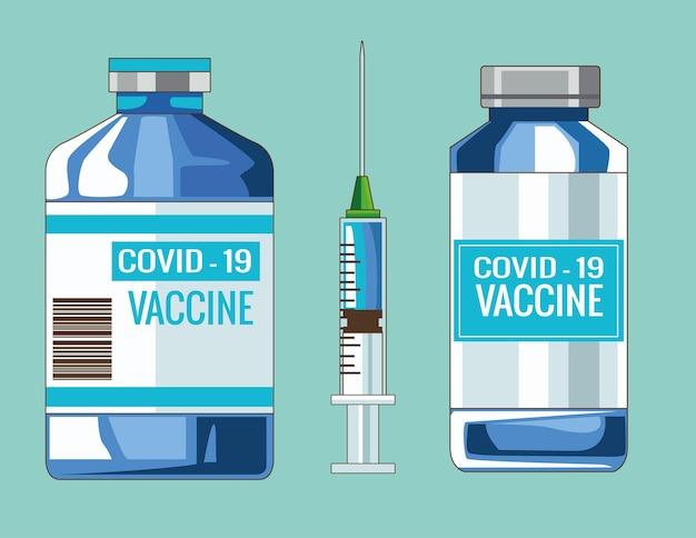Illustrazione di fiale di vaccino covid19 e iniezione di siringa