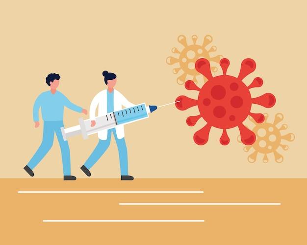 Vaccino covid19 con medici che sollevano siringa e disegno di illustrazione vettoriale di particelle