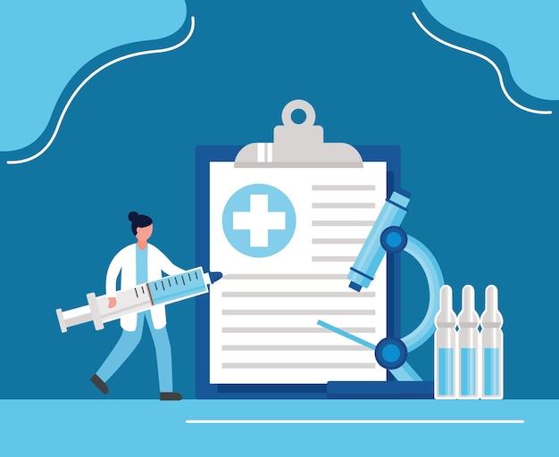 Vaccino covid19 con siringa di sollevamento medico femminile e disegno di illustrazione vettoriale di laboratorio