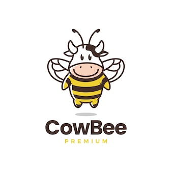 Modello di logo dell'ape mucca