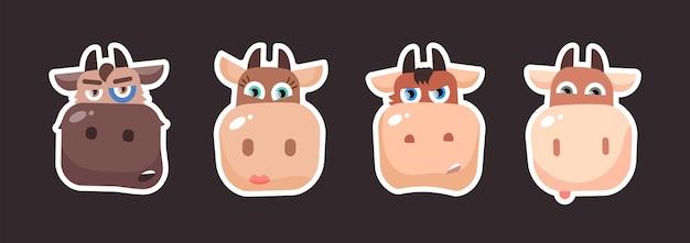 Mucca toro animali da fattoria impostare adesivi con famiglia di mucche