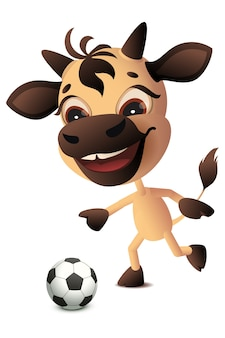 Simbolo del toro della mucca 2021 anni gioca a calcio. isolato sul fumetto bianco