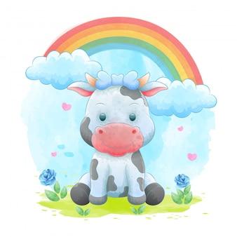 Cartoni animati di mucca con cornici floreali con sfondi ad acquerelli