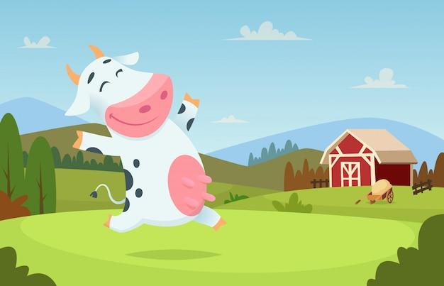 Mucca in fattoria. animali del latte del ranch di campo che mangiano e che giocano sul personaggio dei cartoni animati del paesaggio delle alpi dell'erba