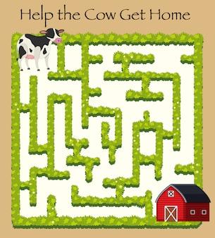 Mucca andando a casa gioco del labirinto Vettore Premium