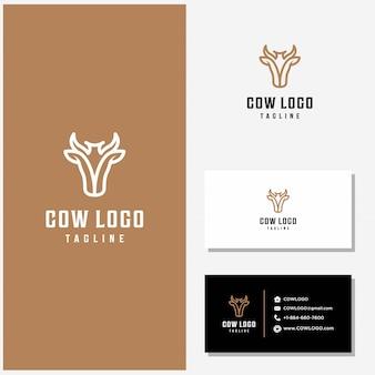 Mucca logo design vettoriale e biglietti da visita