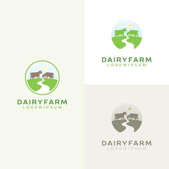 Insieme di marchio della mucca. emblema di latte di fattoria. logotipo di prodotto lattiero-caseario.