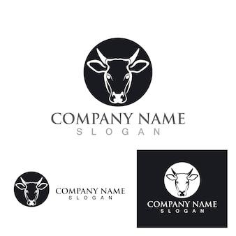Disegno dell'illustrazione dell'icona di vettore del modello di logo della mucca