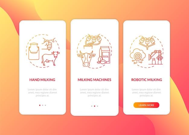 Mucca che munge rosso sulla schermata della pagina dell'app mobile di imbarco con concetti. macchina automatizzata.