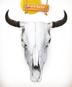 Teschio di mucca. avventura occidentale. 3d