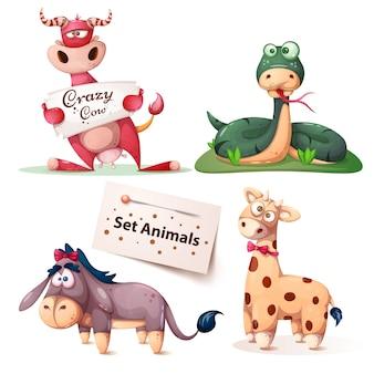 Mucca, serpente, giraffa di asino - set di animali