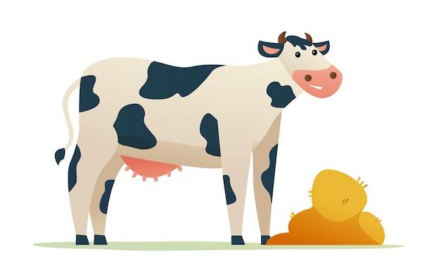 Mucca con illustrazione di cartone animato di grano