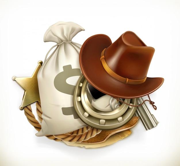 Cowboy adventure. logo del gioco. emblema 3d