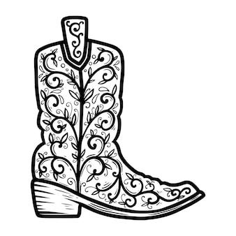 Stivale da cowboy con motivo floreale. elemento di design per poster, t-shirt, emblema, segno.