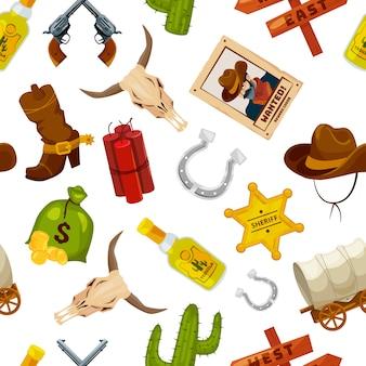 Cowboy, stivali, pistole e altri oggetti wild west in stile cartone animato. vector il concetto selvaggio di ovest del modello senza cuciture con l'illustrazione della pistola e del cactus, della stella e del ferro di cavallo