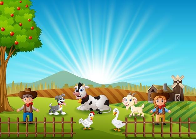 Il cowboy e cowgirl alla fattoria