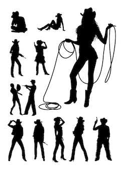 Cowboy e cowgirl silhouette