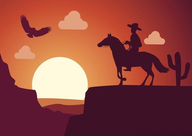 Cowboy nel deserto in tempo tramonto Vettore Premium