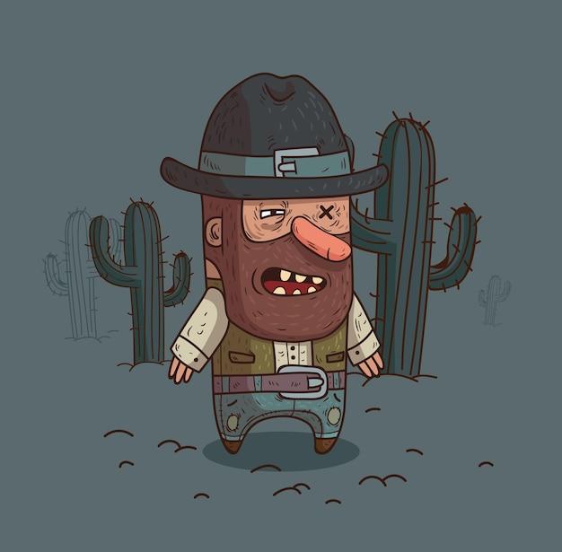 Un cowboy nel deserto circondato da cactus