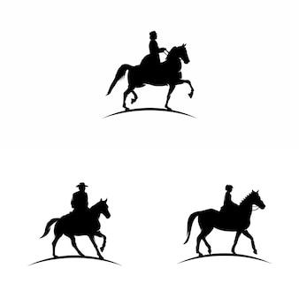 Illustrazione del logo vettoriale del disegno del cowboy