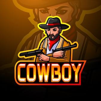 Disegno della mascotte del logo esport da cowboy