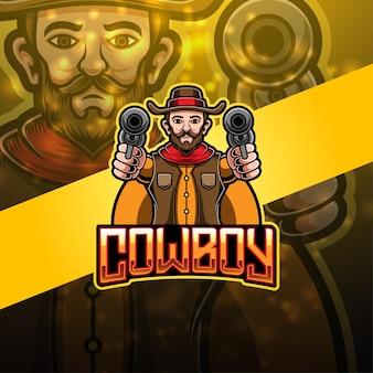 Disegno del logo della mascotte di cowboy esport