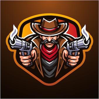 Logo della mascotte esport da cowboy