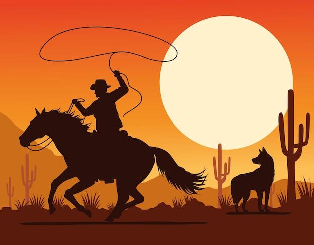 Figura del cowboy in cavallo lazo e cane nel paesaggio desertico