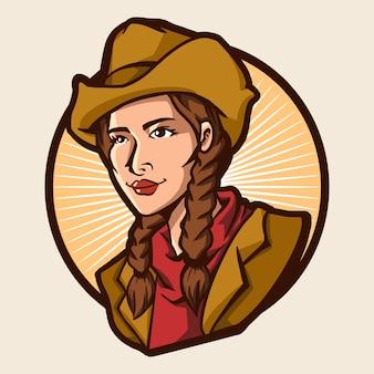 Progettazione dell'illustrazione di vettore della ragazza del cowboy isolata