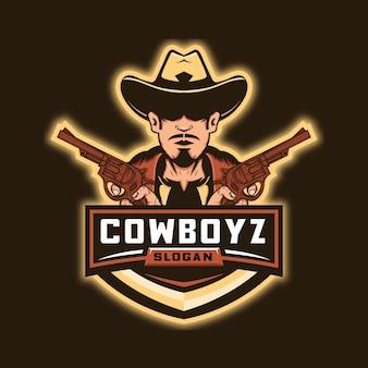 Logo esport di cowboy e pistole