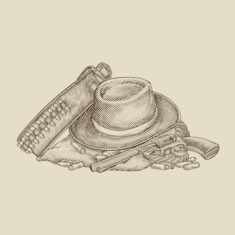 Attrezzatura per pistola cappello da cowboy